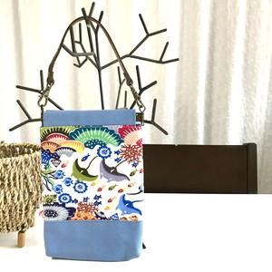 バネ口ポーチ L 本革持ち手付き 紅型デザイン 沖縄の珊瑚礁