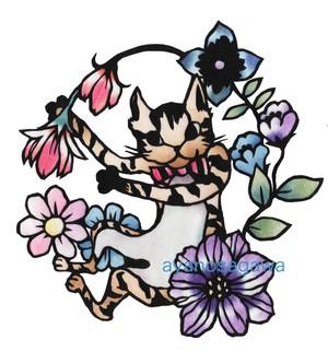 踊るネコの切り絵図案