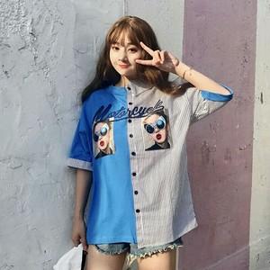 【トップス】新作韓国風半袖配色POLOネックシャツ
