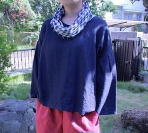 受注製作 お色は選べる9色 カラーリネンふんわりお袖のブラウス 長袖