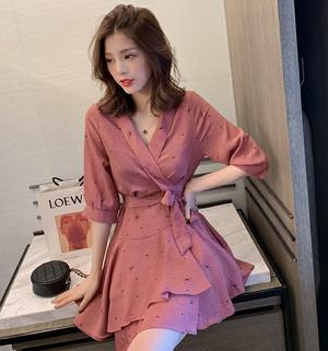 【ワンピース】韓国系着痩リボン付きキュート可愛ファッションvネックデードワンピース22426364