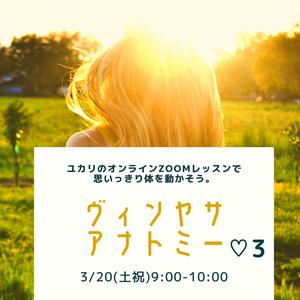 ヴィンヤサアナトミー♡3(ユカリ)3月20日(土祝)9:00-10:00 【オンラインzoom】