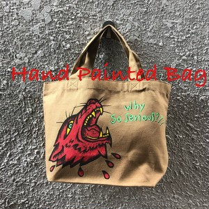 ランチバッグ 茶(イヌオオカミ×ハート Why So Serious) Hand Painted Bag Black Smith ORIGINAL