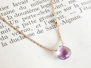14KGF Amethyst Mirror Necklace
