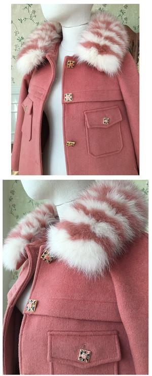 FOX FURピンクウールコート