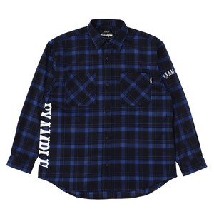EXAMPLE SIDE LOGO CHECK L/S SHIRT / BLUE