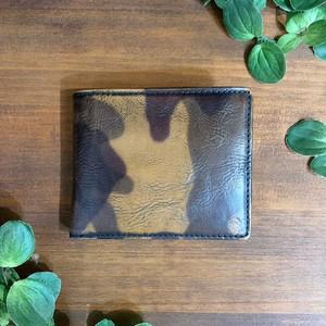 【牛革(迷彩プリント)】2つ折り財布<camouflauge> 牛革 本革 迷彩 折り畳み財布 レザーウォレット 革財布 W8223