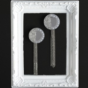 大きな鏡◯銀箔パールの SVタッセルピアスorイヤリング