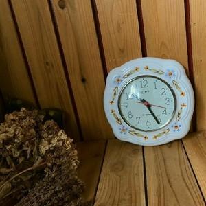 ≫旧東ドイツ製GDRヴィンテージ*WEIMARヴァイマル*手描き陶器製ウォールクロック*壁掛け時計*フラワー花柄*DDRビンテージ*アンティーク
