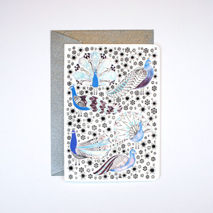 Peacocks and Wild Flowers Card (A6)