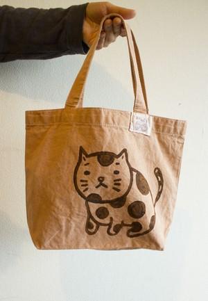 猫 フラワーオブライフ  頒布ミニトートバック 枇杷の葉染め
