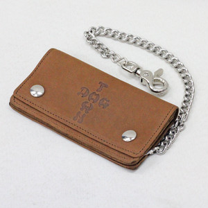 【DOGTOWN】LEATHER CHAIN WALLET BROWN