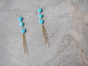 turquois heart earrings /gold