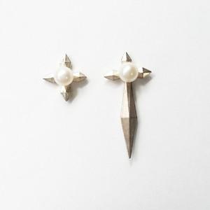 クロスパールピアス(ロング)ロジウムメッキ 片耳販売