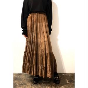 Vintage Brown Jacquard Tiered Long Skirt / ブラウンジャカードティアードロングスカート