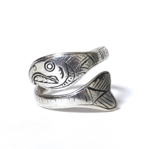 Vintage Northwest Coast Haida Sterling Silver Salmon Trout Ring