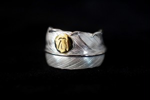 18k eagle metal Life feather ring
