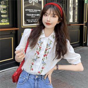 【トップス】キュート半袖シングルブレストPOLOネックパフスリーブ刺繍シャツ44461481