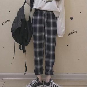 【ボトムス】合わせやすいレトロハイウエスト着瘦せカジュアルパンツ