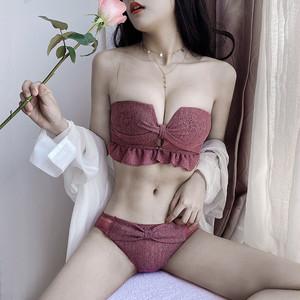 【下着】セクシー ファッション フリンジ リボン 無地 ブラ・ショーツセット