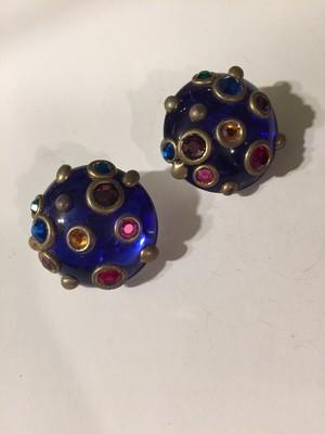 Vintage blue × multi bijou earrings ( ヴィンテージ  ブルー × マルチ ビジュー イヤリング )