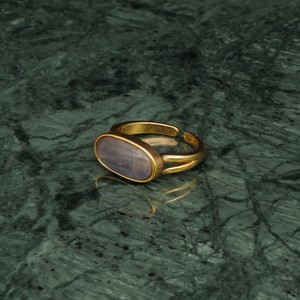 OVAL STONE RING GOLD 009
