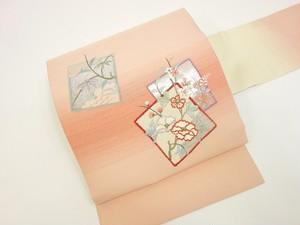 ☆91153☆中古美品 名古屋帯 色紙に草花模様 暈し 可愛い
