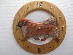 木彫りの丸時計(チベタンスパニエル)
