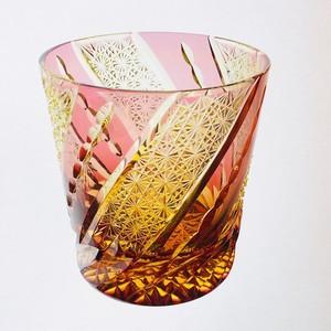 江戸切子 伝統工芸 ロックグラス(琥珀色金赤)風車 送料無料 無料包装 結婚祝 記念品 お誕生日祝い 退職祝 還暦祝 伝統工芸  琥珀色金赤被せ クリスタルガラス ロックグラス