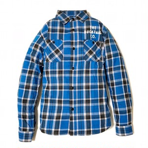 """DUCKTAIL CLOTHING LONG SLEEVE FLANNEL CHECK SHIRTS """"CRAP"""" BLUE ダックテイル クロージング チェック ネルシャツ"""