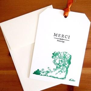 活版印刷リボンカード MERCI 羊の毛を刈る