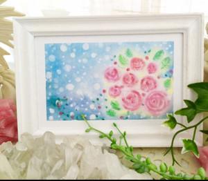 寒い冬にもお花を♪フレーム入りパステル画