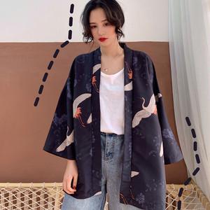【アウター】和風ファッション春夏プリントレトロカジュアル七分袖カーディガン