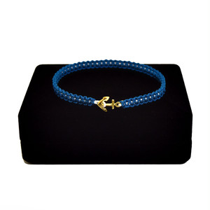 【2020SS 期間限定カラー】K18 Gold Anchor Bracelet / Anklet  Blue×White【品番 17S2010】