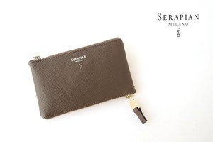 【Sold Out】セラピアン|Serapian |キーケース|エヴォリューション|グレージュ|Key case double zip and ring Evolution Flame
