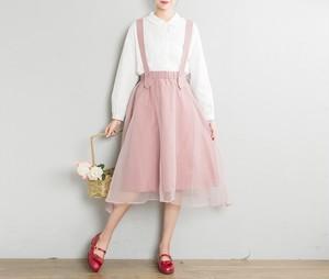 *サスペンダーリネンスカート* ピンク 麻 フレアスカート