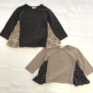 【HOWDY DOODY'S】 サイド小花プリーツTシャツ 天竺 90cm〜160cm (P21003-04)