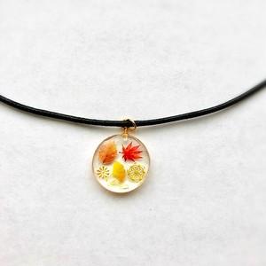 和風チョーカーネックレス 秋の世界と金 Japanese style choker necklace Autumn world and gold