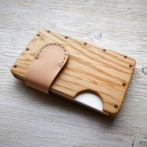 a card case  オーク×ナチュラル 無垢材と本革の名刺入れ | 木で作ったナチュラルでおしゃれな名刺入れ tackle wood design