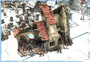 破壊された二階建家屋