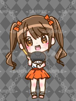 ちびキャラ_ドルヲタちゃんオレンジ_XL