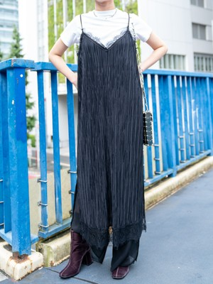 【WOMENS - 1 size】PLEATS CAMISOLE DRESS / Black