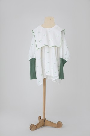 【21AW】folkmade(フォークメイド)  embroidery rogo sailor シャツ offwhite×green(LL)大人
