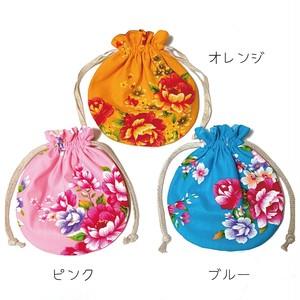 《パステル》台湾花布まんまる巾着+ヘアゴム1個セット