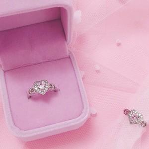 pink diamond heart side ring