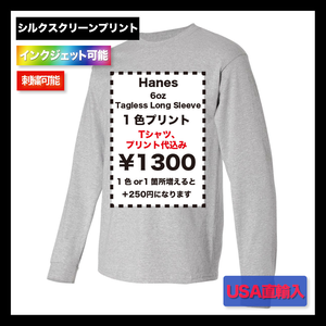 Hanes 6oz Tagless Long Sleeve Tシャツ (品番5586)