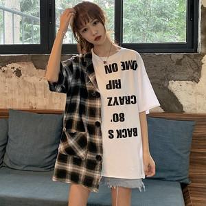 【トップス】ストリート系チェック柄切り替えアルファベットTシャツ