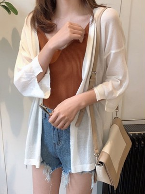【outer】Cape thin type Basic style silk cardigan
