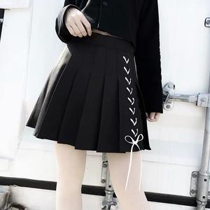 ロングレースアップ ブラックスカート