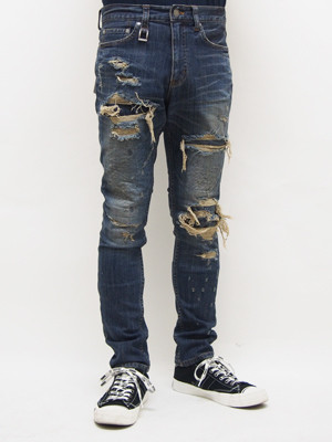 EGO TRIPPING (エゴトリッピング) SKINNY STRETCH DENIM REMAKE / 3year's INDIGO   623154-76